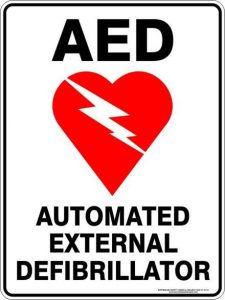Image of a heart with text AED, Automated External Defibrillator